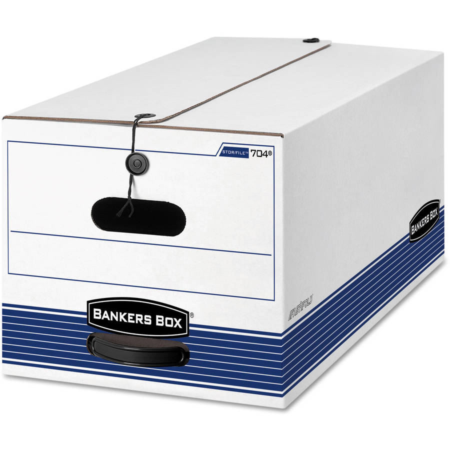 Bankers Box Stor/File Storage Box with Button Tie, White/Blue, 12 per carton