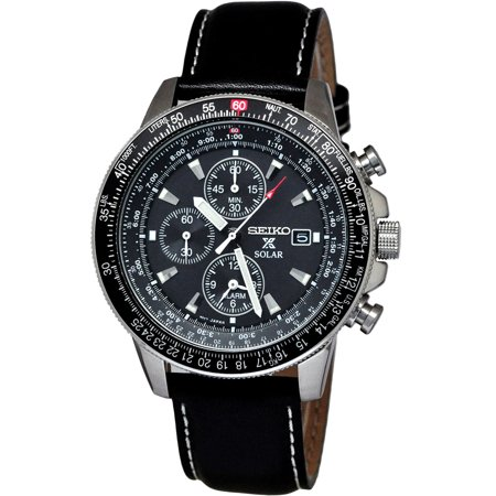 SSC009P3,Men's Solar,Alarm Chronograph,dark Dial,Leather Strap,date,100m WR,SSC009