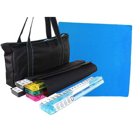 American Mahjong Set with a Table Cover ~ Mahjong Set with Waterproof Black Nylon wtih Blue Stitches Bag and 4 Color Pushers/Racks Western - Mahjong Halloween