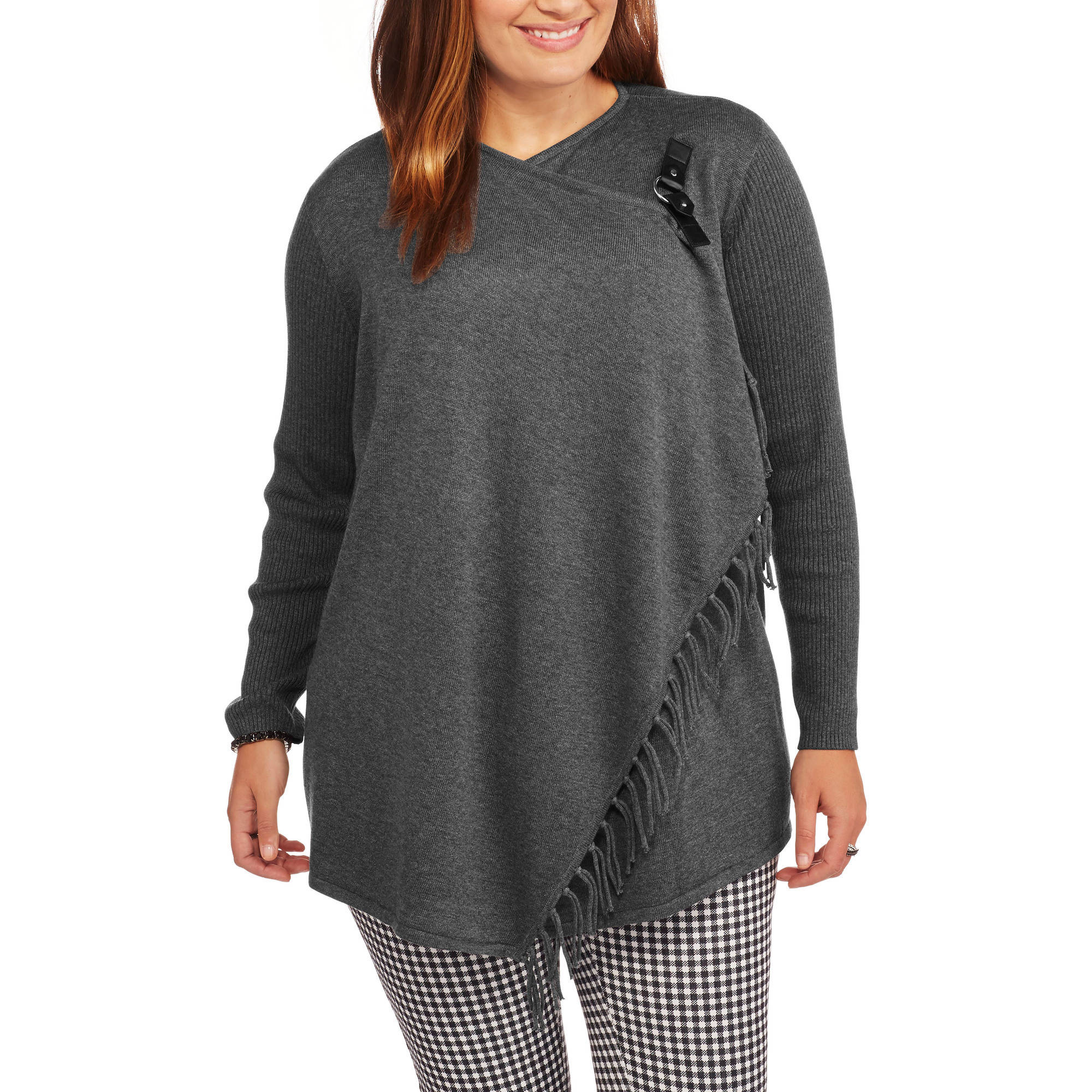 Heart and Crush Women's Plus Cardigan Sweater with Fringe