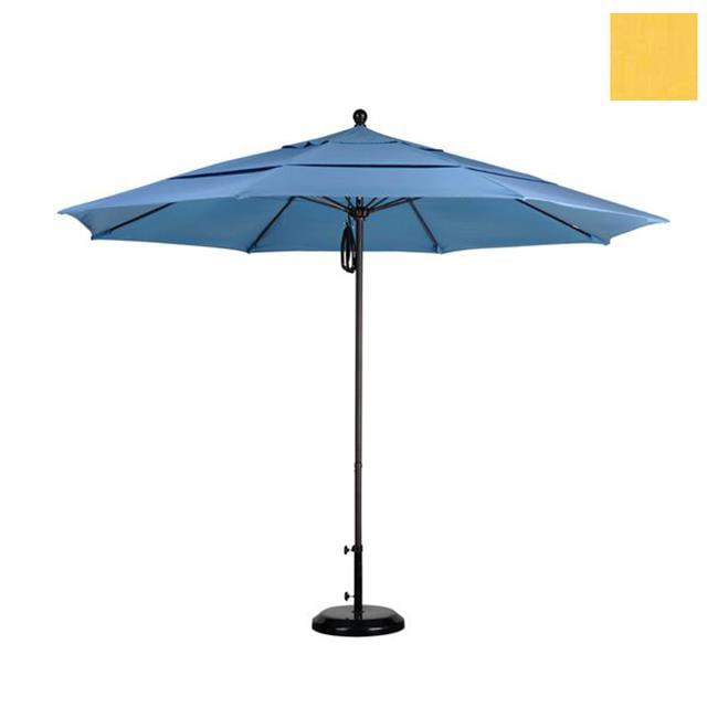 California Umbrella ALTO118117-5435-DWV 11 ft.  Fiberglass Market Umbrella PO DVent Bronze-Sunbrella-Cornsilk