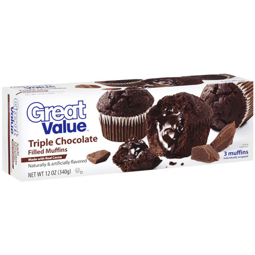 Great Value Chocolate Filled Muffins, 12 oz, 3 Count