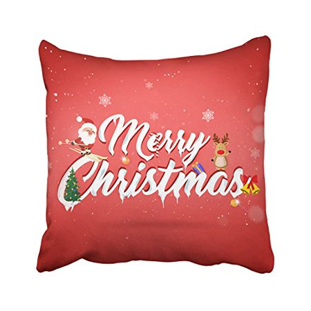 WinHome Happy Festive New Year Red Snowflake, Santa Claus Christmas Tree Decorative Pillowcases With Hidden Zipper Decor Cushion Covers Two Sides 18x18 inches