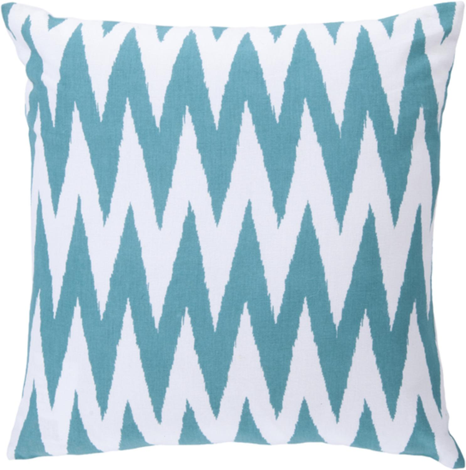"18"" Multiplicity White and Cool Blue Decorative Throw Pillow Down Filler"