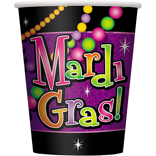 9oz Mardi Gras Beads Paper Cups, 8ct