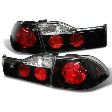 Honda Accord Tail Light Cover (Fits 01-02 Honda Accord 4Dr Sedan JDM Black Tail Brake Lights Lamp W/Trunk Piece)