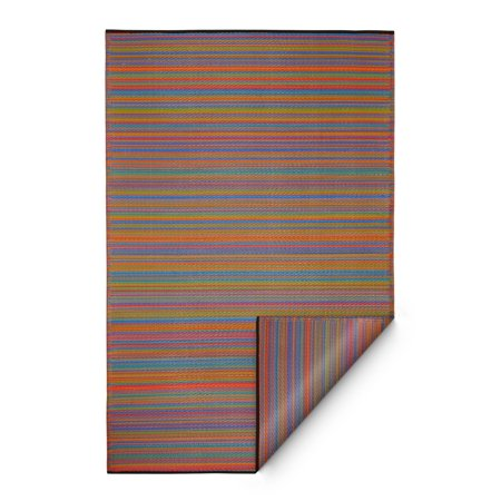 Fab Habitat Reversible Indoor Outdoor Weather Resistant Floor Mat/Rug - Cancun - Multicolor (6 ft x 9 ft) ()