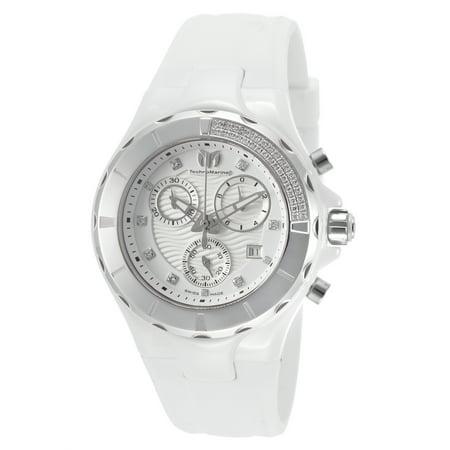 Technomarine Tm-110031 Women's Cruise Diamond Chrono White Silicone And Dial Watch