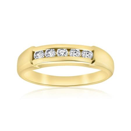 14k Mens Diamond Rings - 1/2ct Mens 14K Yellow Gold Round Diamond Wedding Ring