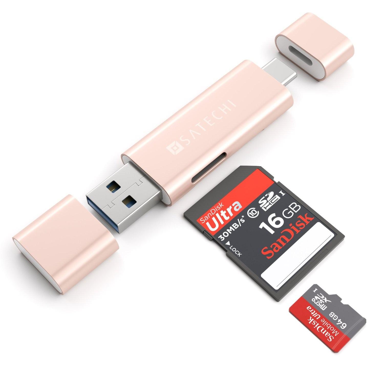 Satechi Aluminum Type C Micro/SD Card Reader (Rose Gold)