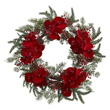 Nearly Natural 22 in. Unlit Orchid with Berry and Pine Holiday Wreath 22' Holiday Christmas Wreath