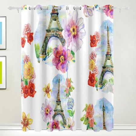 POPCreation Watercolor Flowers And Eiffel Tower Window Curtain Blackout Curtains Darkening Thermal Blind Curtain for Bedroom Living Room,2 Panel (52Wx84L Inches) Blind 10 Tower