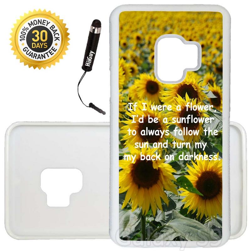 Custom Galaxy S9 Case (Sunflower Field Quote) Edge-to-Edge Rubber White Cover Ultra Slim | Lightweight | Includes Stylus Pen by Innosub