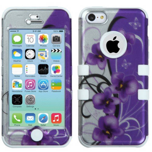 Apple iPhone 5C MyBat TUFF Hybrid Protector Case, Twilight Petunias/2D Silver/Solid White