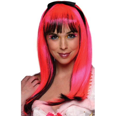 Adult Womens 80s Pink Black Streak New Wave Costume Neon Doll - 80s Wild Child Wig