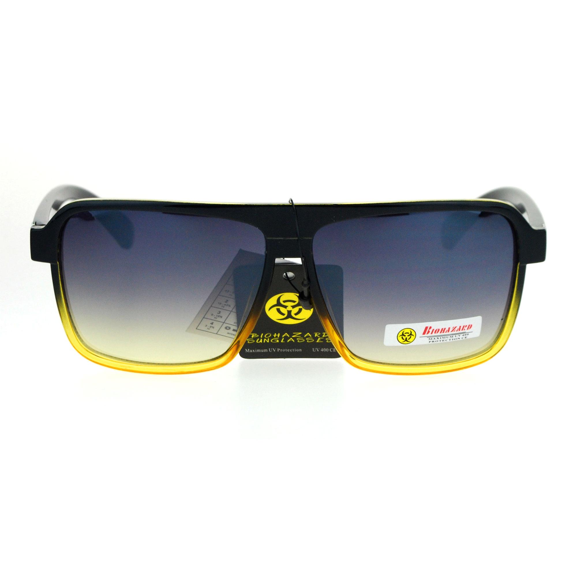 8d52c220bb2 SA106 - Biohazard Mens Mod Flat Top Racer Plastic Aviator Sunglasses Black  Yellow - Walmart.com