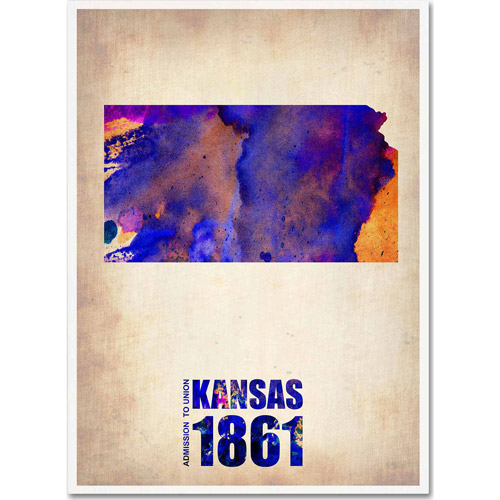 "Trademark Fine Art ""Kansas Watercolor Map"" Canvas Art by Naxart"