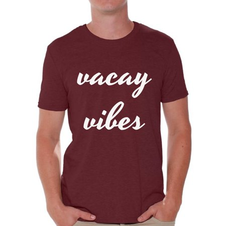 Awkward Styles Vacay Vibes Shirt Men's Summer Vacation Tshirt Vacay Mode T-Shirt Beach Party Outfit Funny Summer Gifts for Him Vacation Shirts for Men On Vacation T-Shirt Beach Men's
