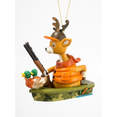 Deer Hunter with Gun Duck Decoys In Boat Christmas Holiday Ornament 3.75 Inches thumbnail