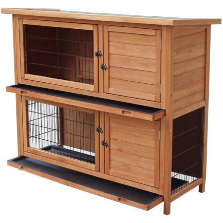 Merax 48'' Waterproof Two Floors Wooden Rabbit Hutch for Small Animals by Merax
