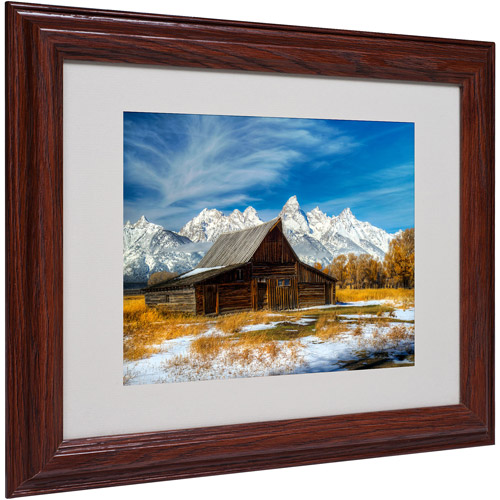"Trademark Fine Art ""Iconic Barn Grand Teton"" Matted Framed Art by Pierre Leclerc"