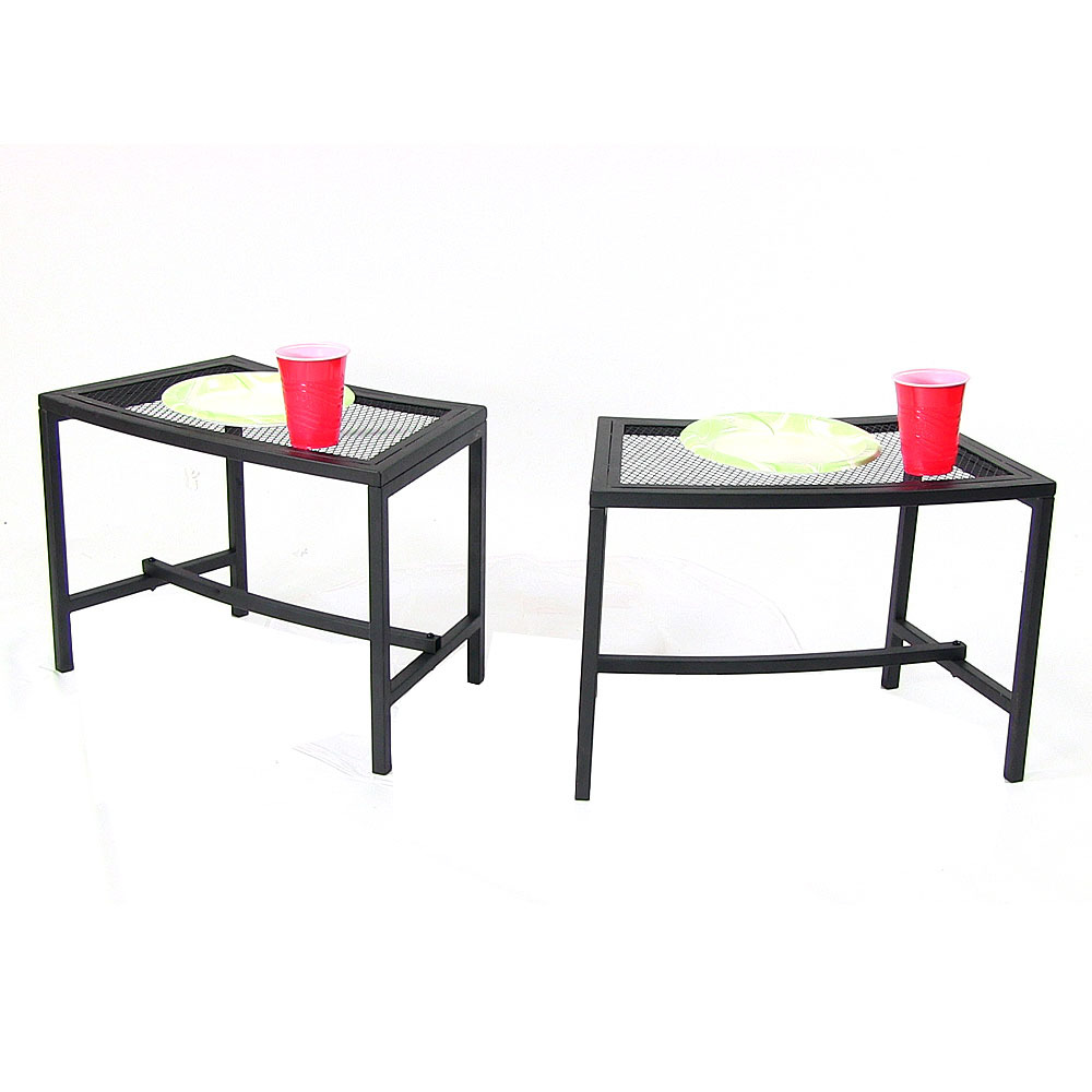 Sunnydaze Outdoor Patio Side End Table, Heavy Duty Mesh Metal, Small Porch  Furniture,