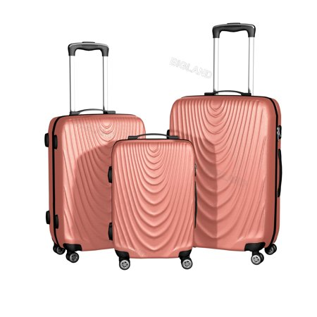Rose Gold 3 Pcs ABS Luggage Set Hard Suitcase Spinner Set Travel Bag Trolley Wheels Coded Lock