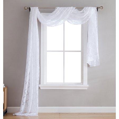 HLC.ME Lattice Sheer Voile Burnout Long Window Scarf Valance - 54