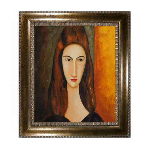Overstock Art MD1725-FR-M8098620X24 Amedeo Modigliani - Portrait of Jeanne Hebuterne Framed Art