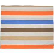Bacati - Mod Stripes Fitted Crib Sheet 100% Cotton Percale, Blue/Orange/Choc