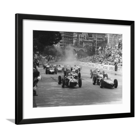 Start of 1961 Monaco Grand Prix, Stirling Moss in Car 20, Lotus 18 Who Won the Race Framed Print Wall