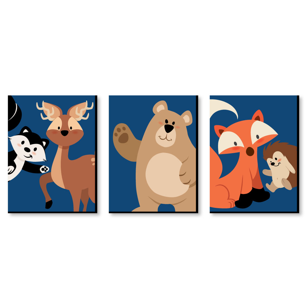 "Stay Wild - Forest Animals - Boy Woodland Nursery Wall Art and Kids Room Decor - 7.5"" x 10"" - Set of 3 Prints"