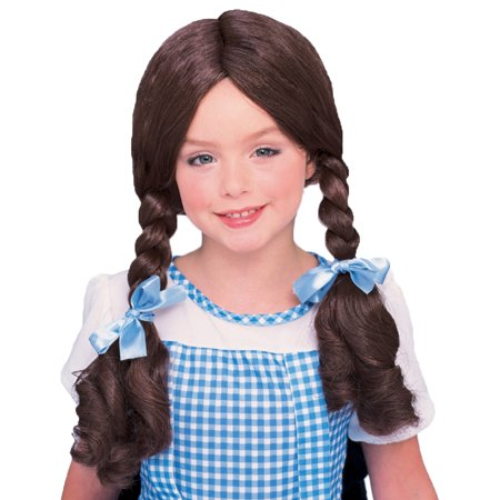 Morris Costumes Girls Dorothy Tradional Blue Ribbons Brown Pigtail Wig, Style CA130 (Dorothy Wig)