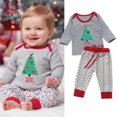 2pcs Kids Baby Boy Christmas Clothes Set Casual T-shirt+Long Pants - M&m Outfit