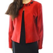Kasper NEW Red Shantung Black Jeweled Women's 2P Petite Open-Front Jacket