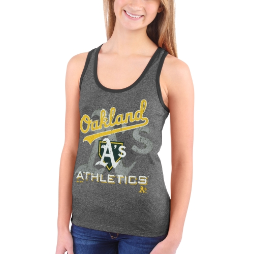 Oakland Athletics Majestic Threads Women's Contrast Racerback Crest Tri-Blend Tank Top - Green