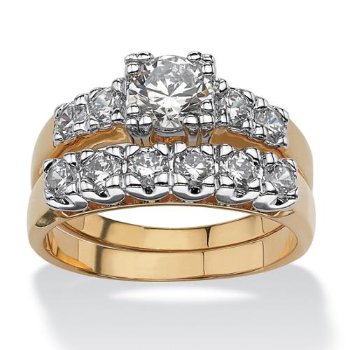 2 Piece 2.15 TCW Round Cubic Zirconia Bridal Ring Set in 14k Gold-Plated - Size 10