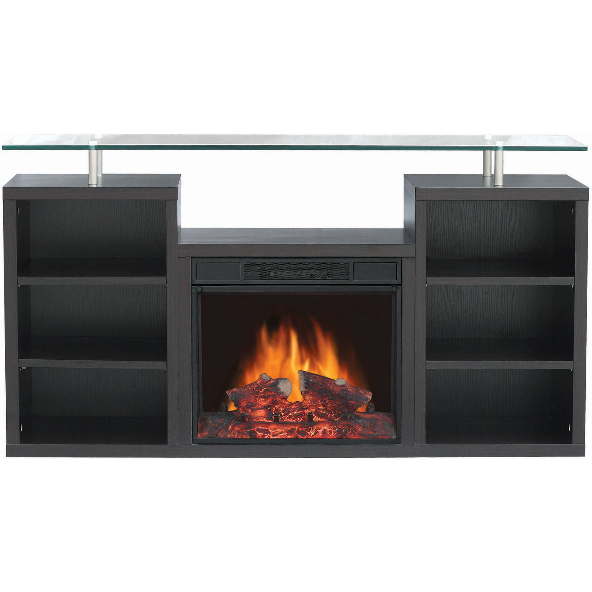 "Decor Flame Media Electric Fireplace for TVs up to 60"", Dark Walnut"