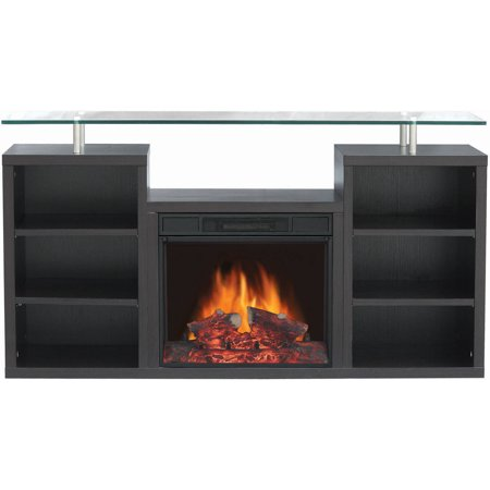 Decor Flame Media Electric Fireplace For Tvs Up To 60 Dark Walnut At Winter Supply Store
