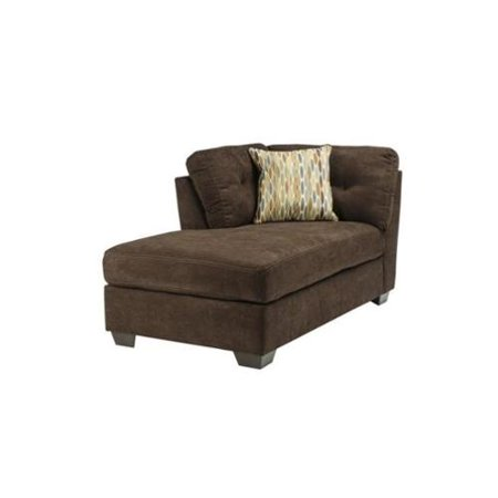 Ashley delta city left corner chaise lounge in chocolate for Ashley microfiber chaise lounge