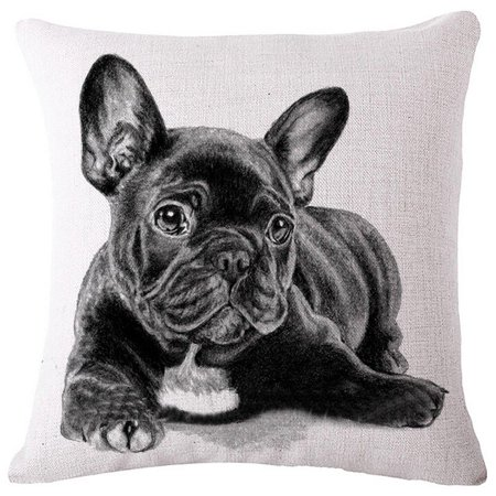 Diorama 17.7x17.7 Inch (45x45 cm) Cotton Linen Square Personalized Decorative Throw Pillow Case Cushion Cover Lovely French Bulldog Series Cushion Covers Pillow Cases (#001) #001