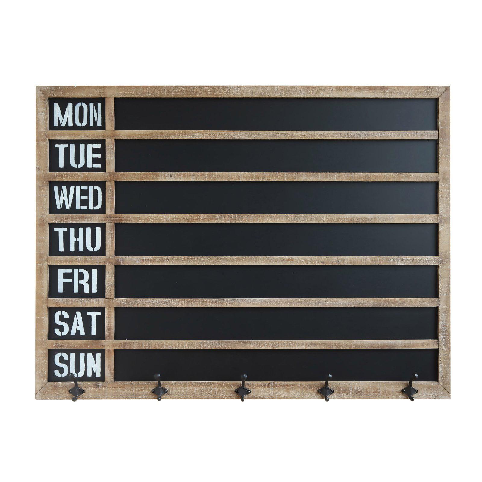 3R Studios Weekday Wall Chalkboard with 5 Metal Hooks by Creative Co-op Inc