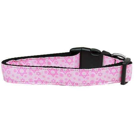 Pink Star Of David Nylon Cat Collar