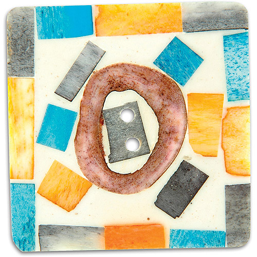 Vision Trims Handmade Bone Button-2 Square Painted Multi-Colored