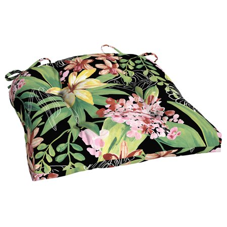 Better Homes & Gardens Black Tropical 18 x 20 in. Outdoor Wicker Chair Cushion with EnviroGuard ()