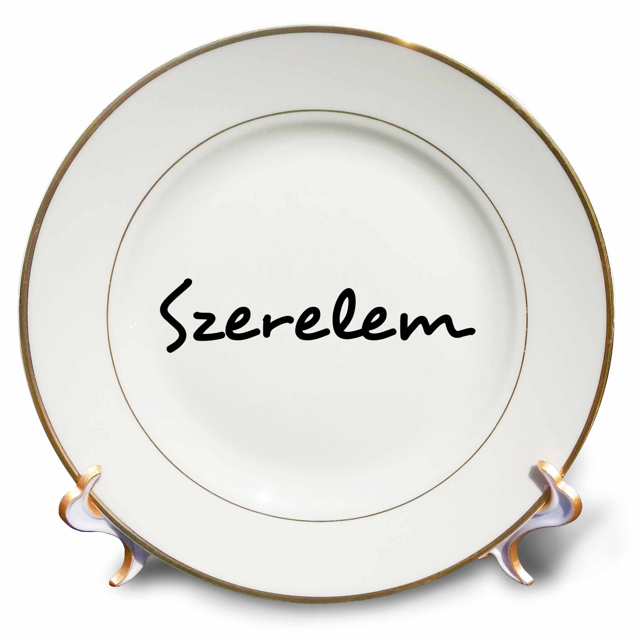 3dRose Szerelem Word for Love in Hungarian Romantic World Language Black Text-Porcelain Plate 8-inch cp/_185035/_1