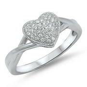 Heart Cluster White CZ Promise Ring ( Sizes 5 6 7 8 9 ) New .925 Sterling Silver Band Rings (Size 5)