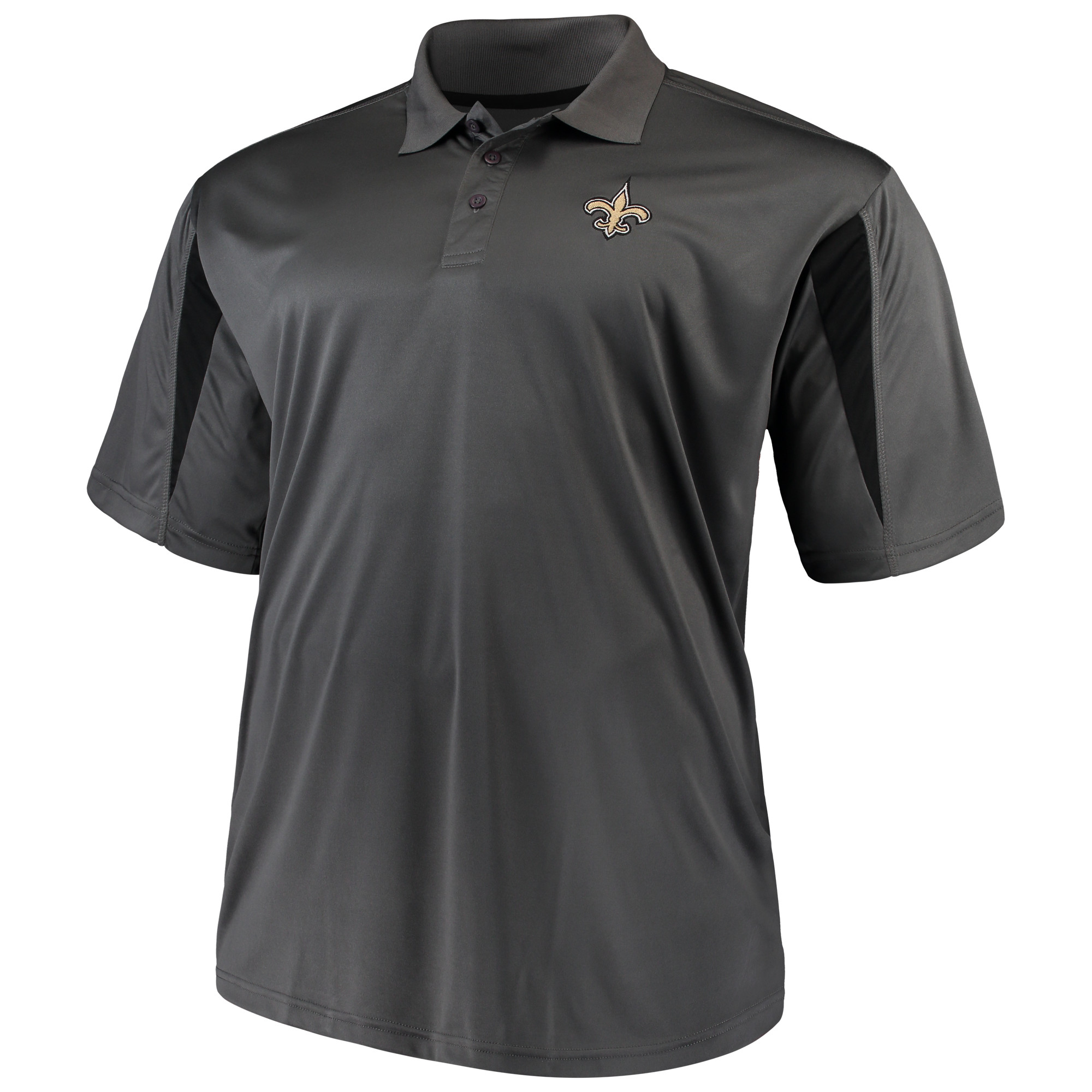 Men's Majestic Charcoal New Orleans Saints Big & Tall Pieced Polo