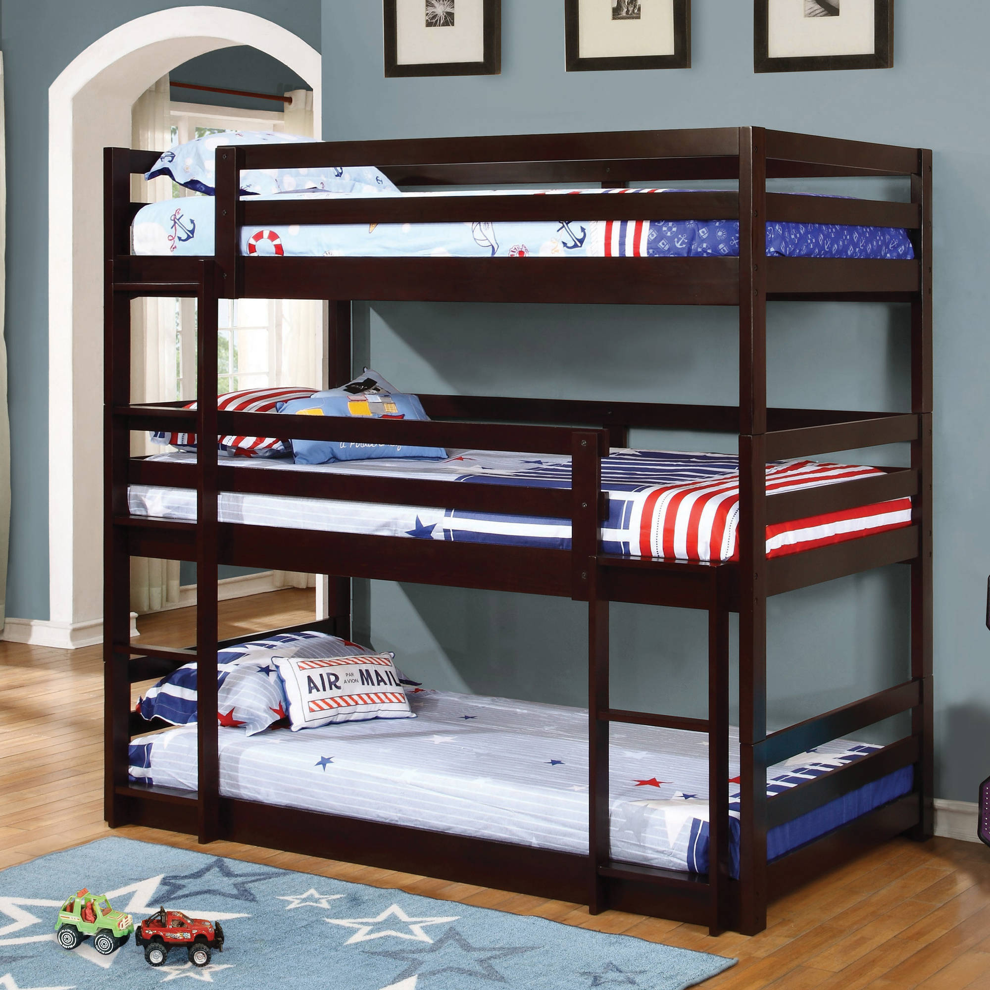 Coaster Furniture Triple Twin Wood Bunk Bed, Cappuccino, Box 1 of 3 by Coaster Company