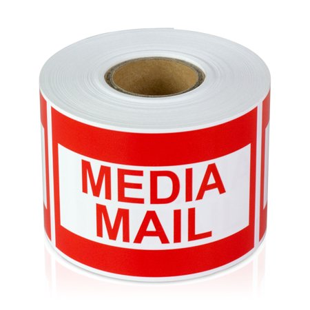 """OfficeSmartLabels 3"""" x 2"""" Media Mail Labels for Mail & Shipping (Red, 300 Labels per Roll)"""
